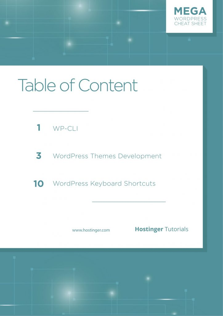 WordPress Cheat Sheet Table of Contens