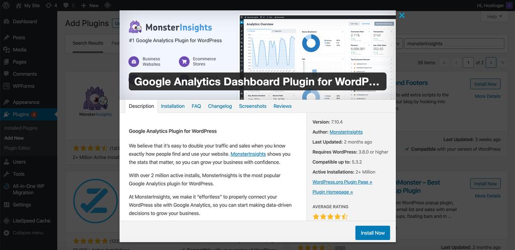 tải plguin MonsterInsights cho WordPress