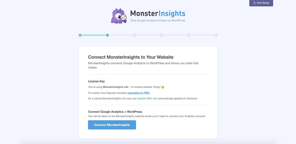 kết nối MonterInsights với tài khoản Google Analytics