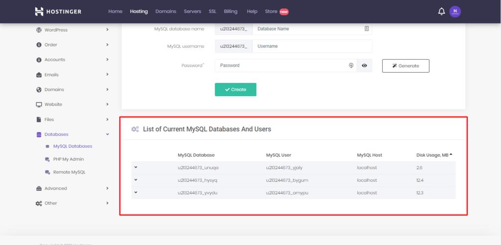 database MySQL và users