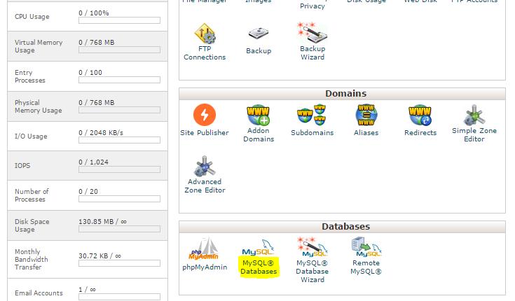 cPanel MySQL Databases đặt trong phần Databases .