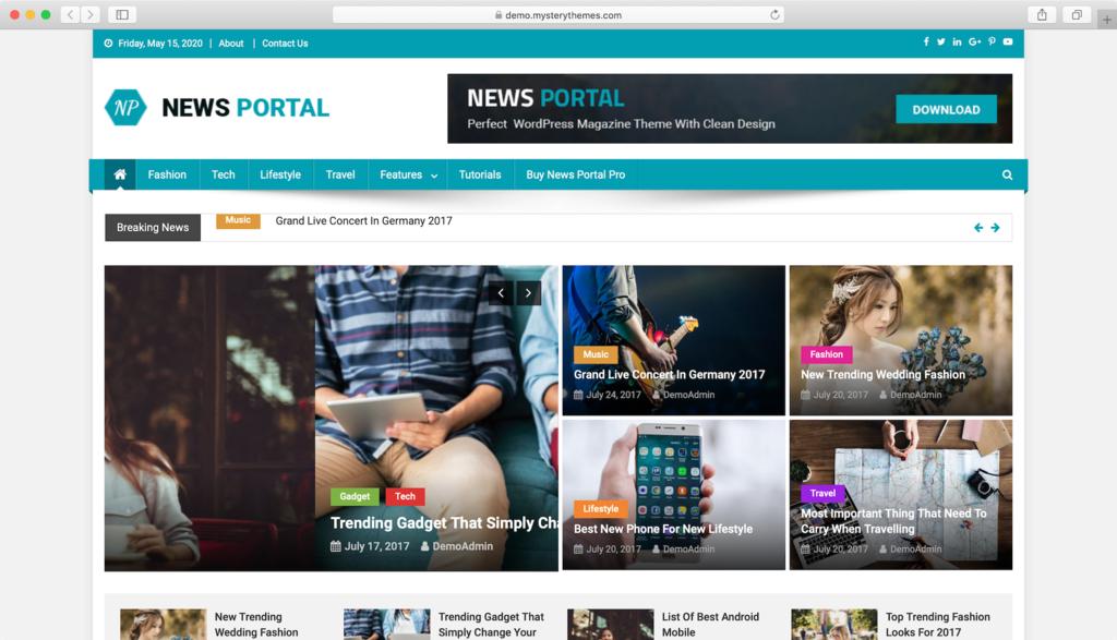 Theme WordPress Free News Portal