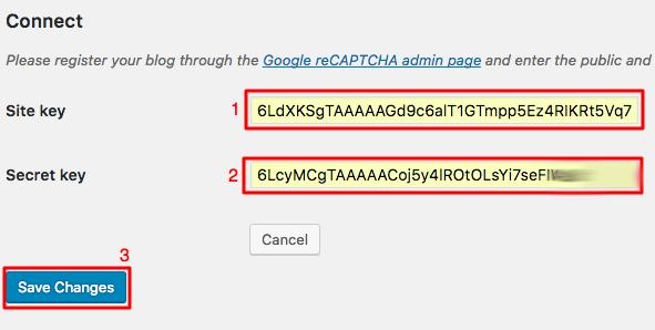 nhập site key và secret keys vào trang cài đặt plugins