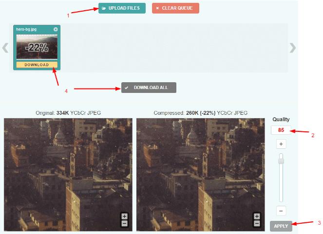 Optimizilla image optimization process from baseline to progressive jpeg