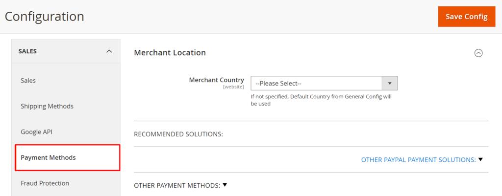 thương thức thanh toán trong magento admin dashboard
