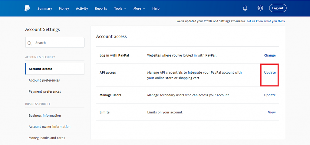 cập nhật nút API access trên PayPal