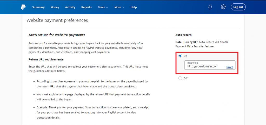 kích hoạt PayPal quay lại trang web và URL để quay lại.