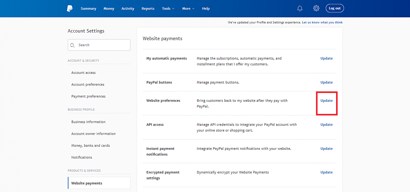 paypal website preference
