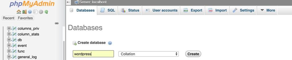 tao database trong phpMyAdmin Database Tab