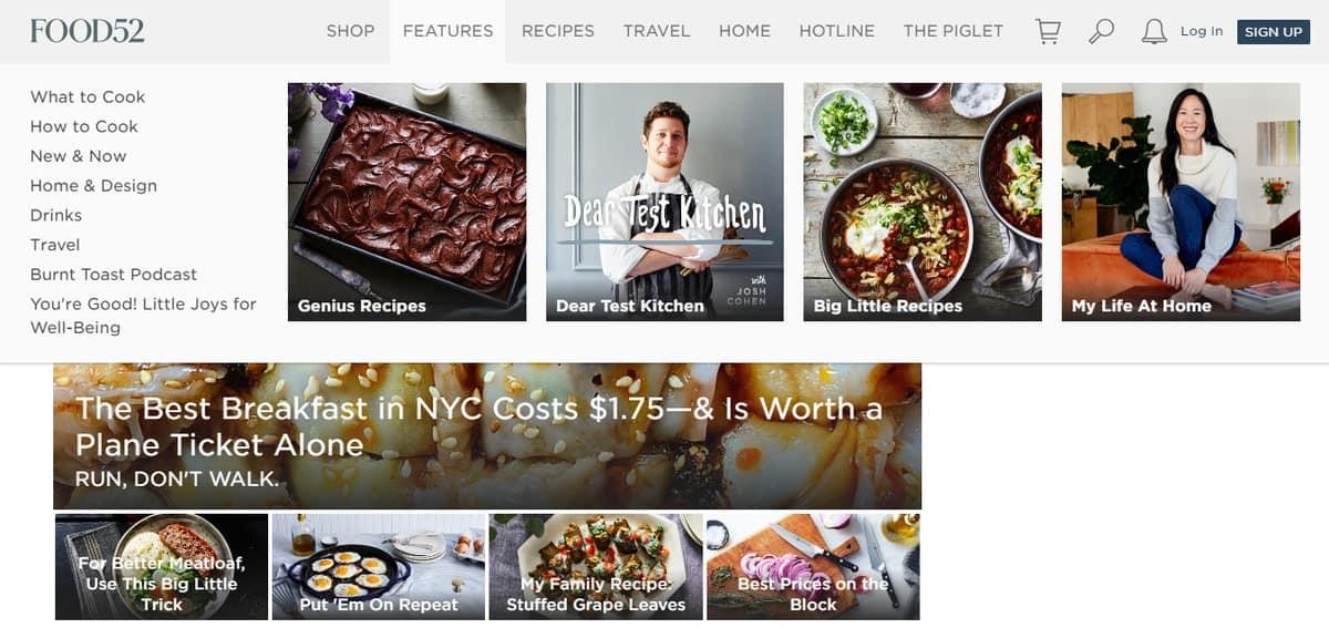 Food52 Recipe Blog Homepage