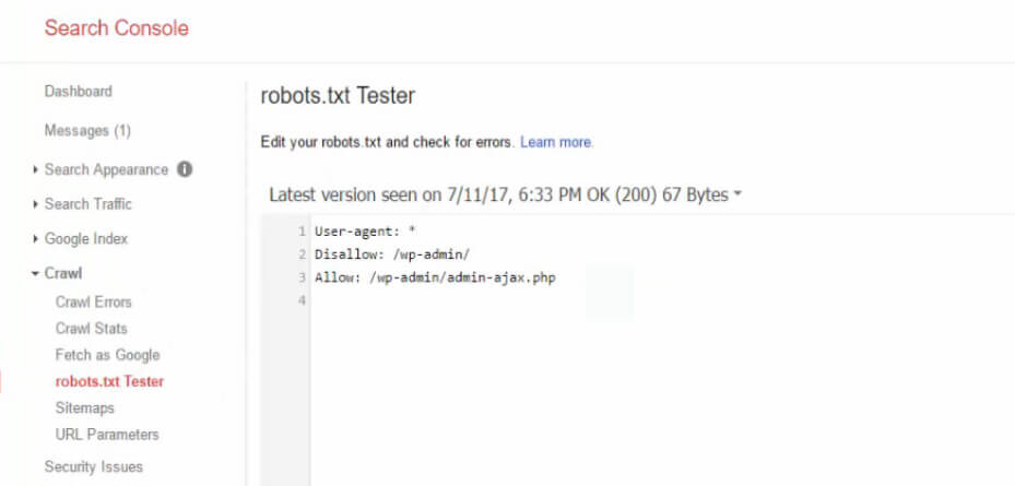 search console tester robots