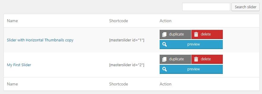 tìm shortcode của slide bạn