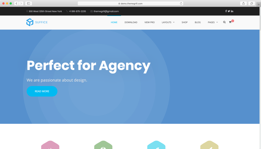 Sufice WordPress theme.