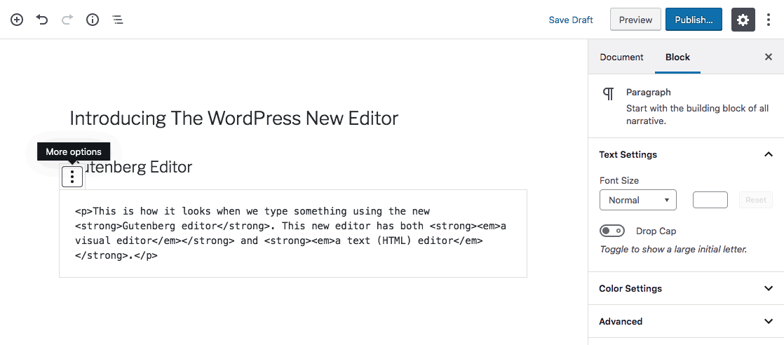 text editor của gutenberg