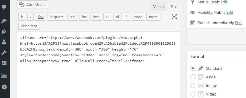 Dán WordPress embed code.