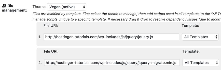 thêm js resources cho w3 total cache