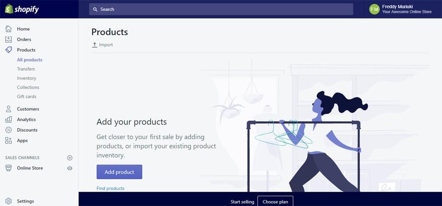 thêm sản phẩm mởi trong shopify