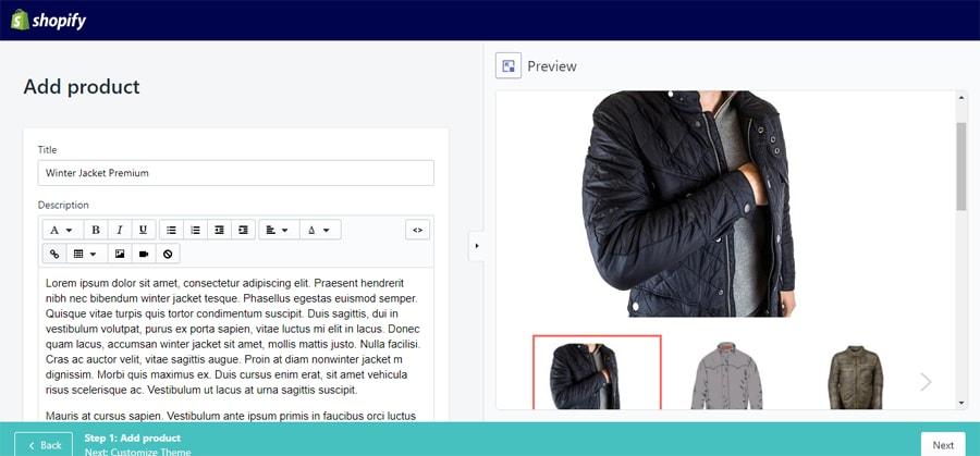 thêm thông tin sản phẩm mới trong shopify