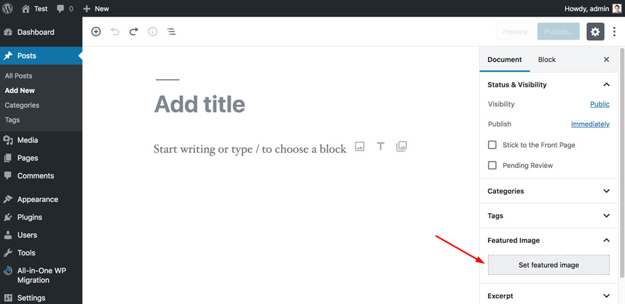 thêm WordPress featured image