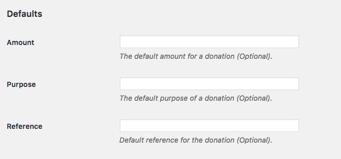 thiết lập các yếu tố mặc định paypal donation