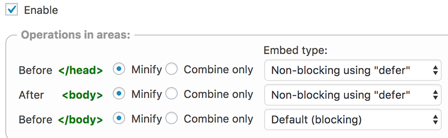 Thiết lập W3 total cache js minify