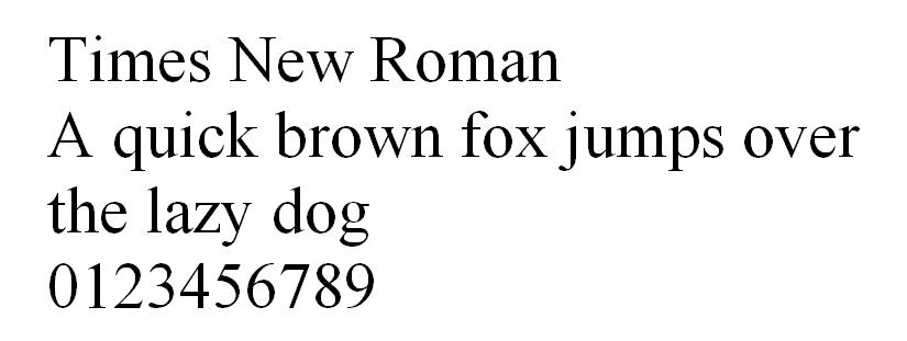 Times New Roman HTML font