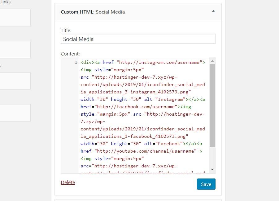 trang widget custom html