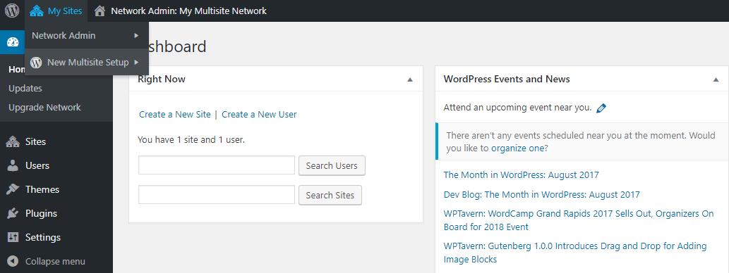 Truy cập vào wordpress multisite
