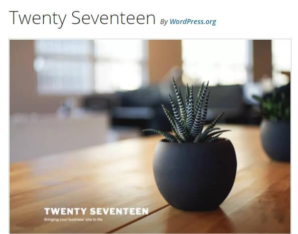 theme mặc định Twenty Seventeen theme.