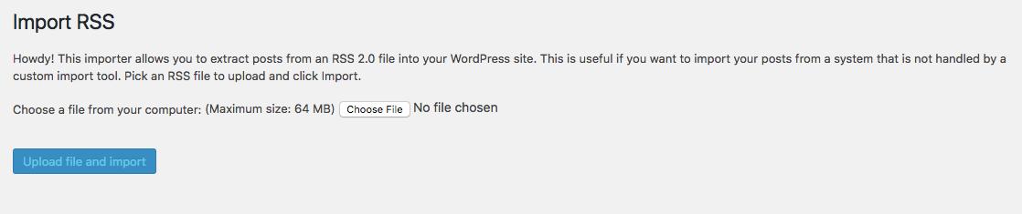 upload rss import