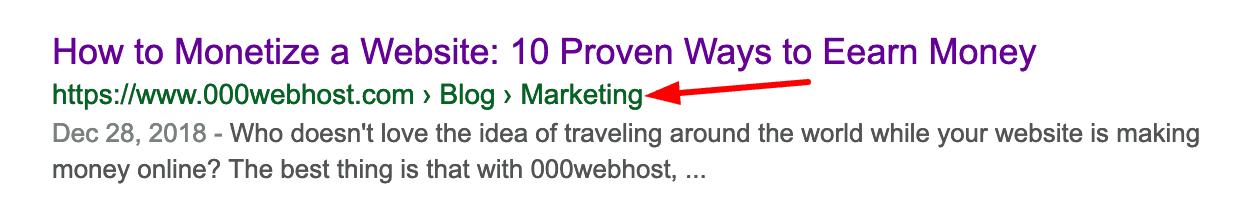 ví dụ breadcrumb trên kết quả google