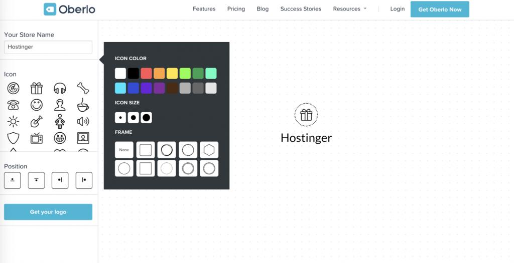 thiết kế logo online bằng oberlo logo maker