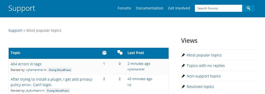 ví dụ về wordpress forum