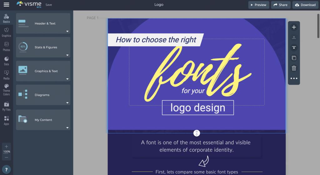 thiết kế logo online trên visme
