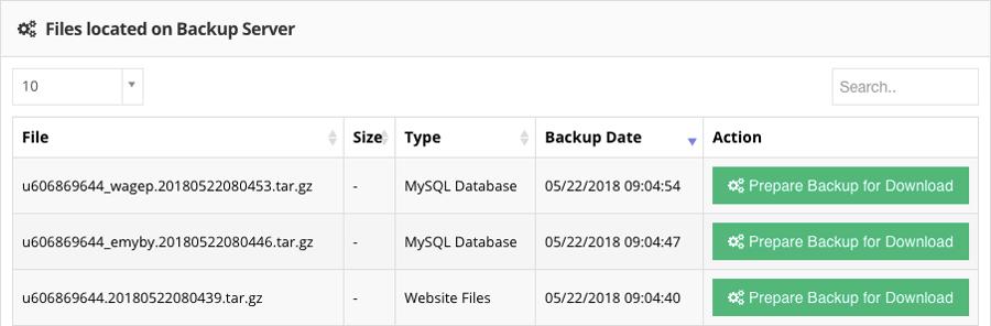 website file và mysql backup trong Hostinger