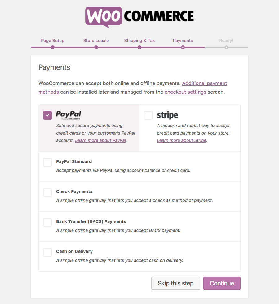 Payments configuration for WooCommerce plugin
