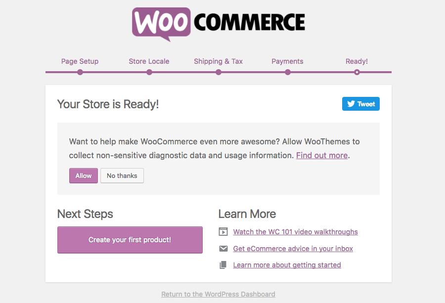 WooCoomerce setup is complete