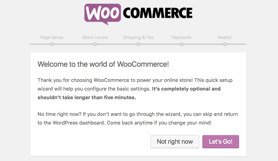 Click lets go button to begin WooCommerce configuration
