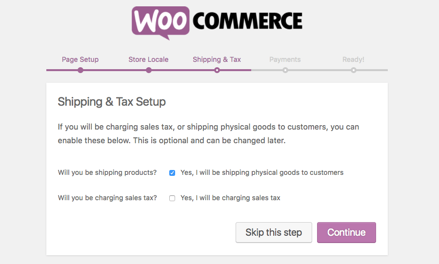 Shipping and Tax settings page for Woocommerce