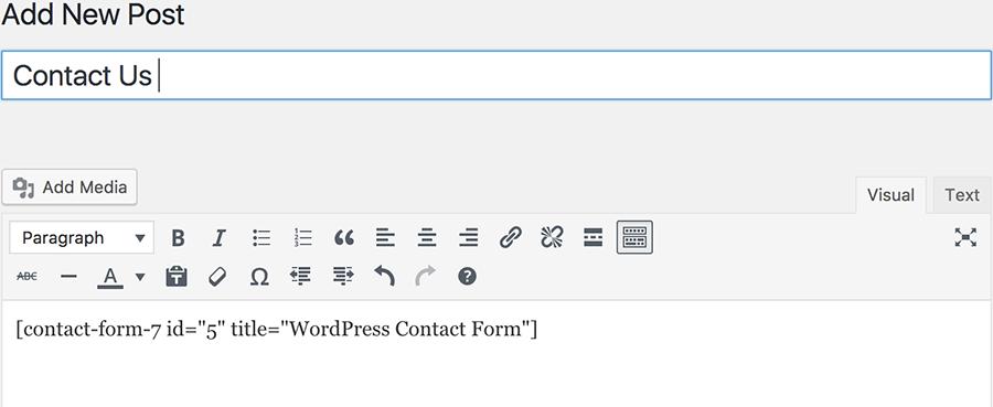 WordPress Contact Us Page