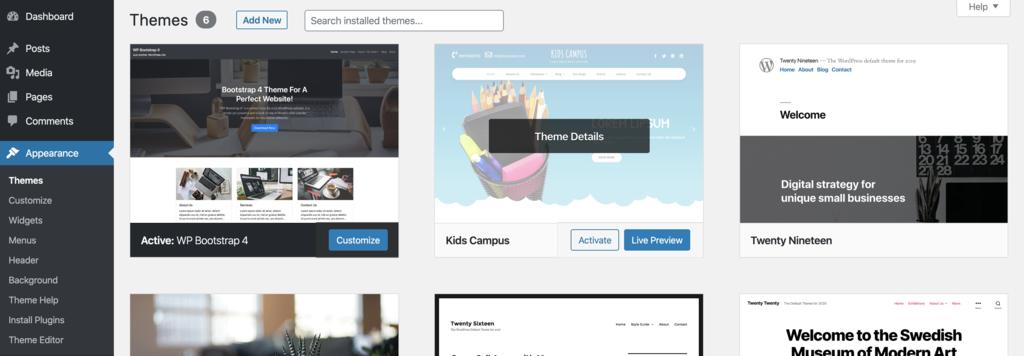 ví dụ một số WordPress theme