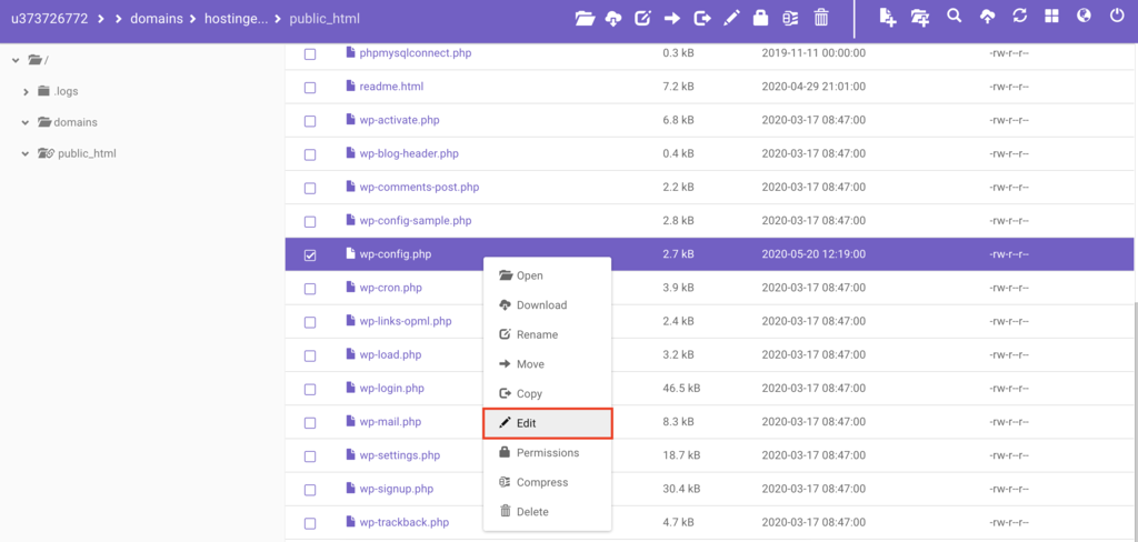 edit wp-config trong file manager