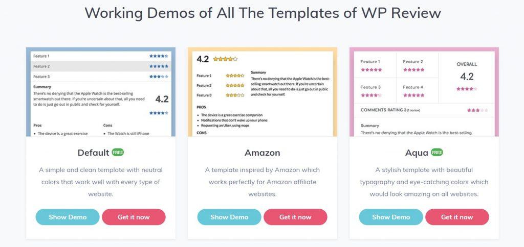 WordPress plugin review: WP Review Pro mẫu thiết kế