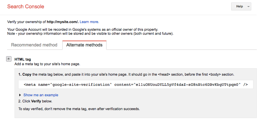 xác thực google search console verify