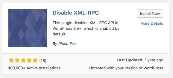Cài đặt plugin disable XML-RPC