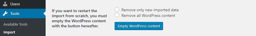 xóa toàn bộ nội dung WordPress