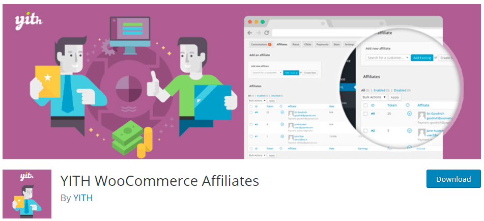 trang web YITH WooCommerce Affiliates