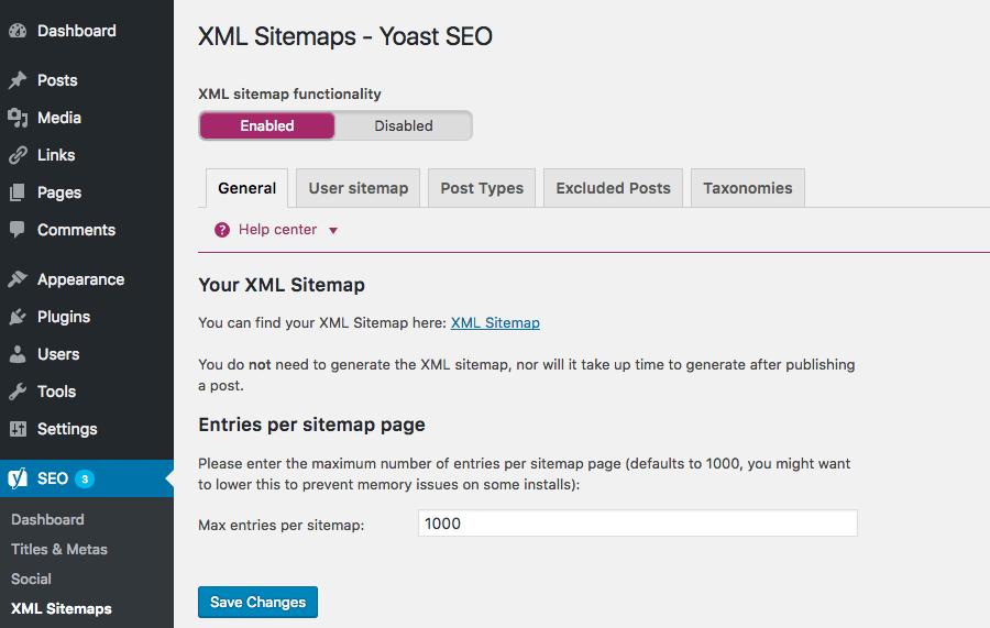 Yoast SEO XML Sitemaps Section