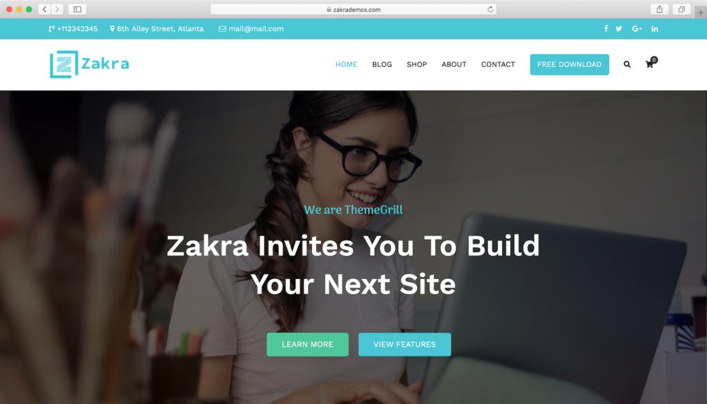 Zakra WordPress theme.